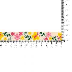 Geweven band vlinders-bloemen 17mm - 25m