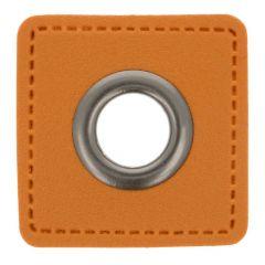 Nestels op bruin Skai-leer vierkant 11mm - 50st