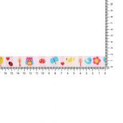 Geweven band dieren-bloemen 17mm - 25m