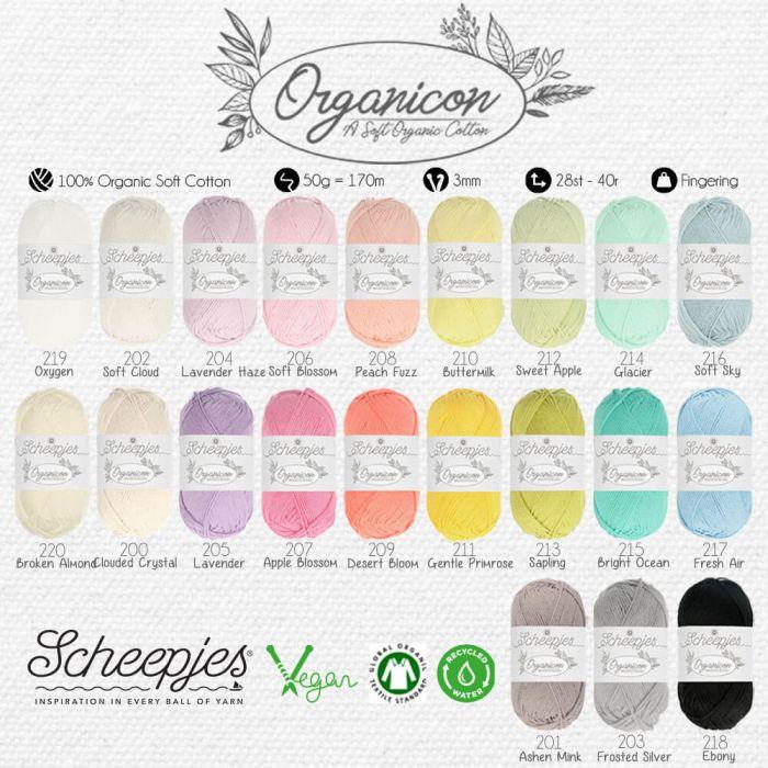 Scheepjes Organicon assortiment 5x50g - 21 kleuren - 1st
