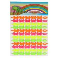 Band met vlinders neon kleuren - 3st