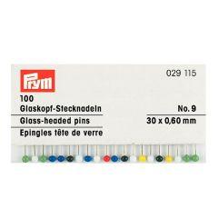 Prym Glaskopspelden zilver 0,60 x 30 mm ass. kleuren - 10st