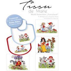 Tissu de Marie Borduurpakket babyschortje 20x22cm wit - 1st
