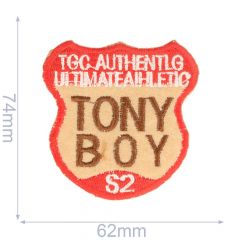 Applicatie tony boy 62x74mm rood-bruin - 5st