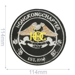 Applicatie Hong Kong chapter 114x114mm zwart - 5st