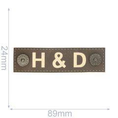 Label H&D 89x24mm bruin - 5st