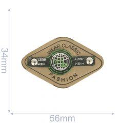 Label wear classic fashion 56x34mm beige-groen - 5st