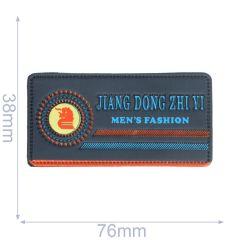 Label Jiang dong zhi yi men's fashion 76x38mm blauw - 5st