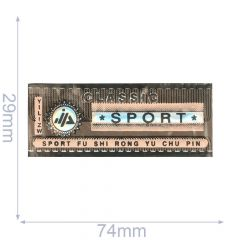 Label classic sport 74x29mm bruin-roze - 5st