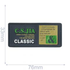 Label C.S.JIA classic 76x33mm blauw - 5st