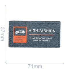 Label high fashion 71x37mm blauw - 5st
