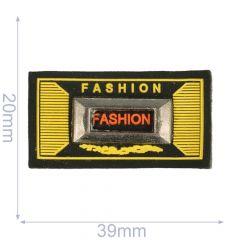 Label fashion 39x20mm zwart-geel - 5st