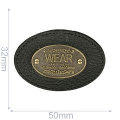 Label ovaal wear 50x32mm zwart - 5st