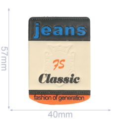 Label jeans 75 classic 40x57mm beige-blauw - 5st