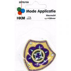 Applicatie Bloem paars-geel - 5st