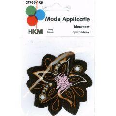 Applicatie Bloem bruin met oranje-roze - 5st