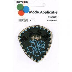 Applicatie Bloem blauw in schild - 5st