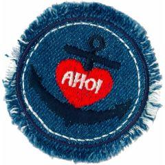 Applicatie AHOI in cirkel jeansblauw - 5st