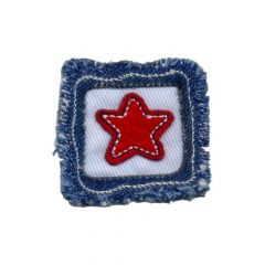Applicatie Rode ster in vierkant - 5st