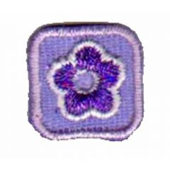 Applicatie Bloem lila in klein vierkant - 5st