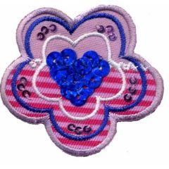 Applicatie Bloem met blauwe pailletten - 5st