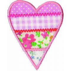 Applicatie Hart bont roze - 5st