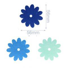 Applicatie Vilt 3 bloemen blauw - 5 sets
