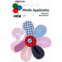 Applicatie Bloem groot blauw-roze met knop - 5st