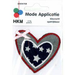 Applicatie Hart US-kleuren met roze strikje - 5st