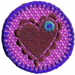Applicatie Hart op roze button - 5st