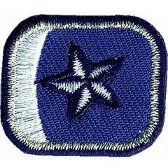 Applicatie button blauw/rood met zilveren sterren - 5st