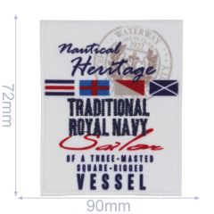 HKM Applicatie traditional royal navy 90x72mm - 5st