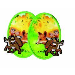 Applicatie set kniestukken met vosjes lichtgroen 2 stuks - 5