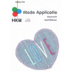 Applicatie Love hart jeans - 5st