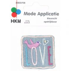 Applicatie Love met vogel jeans - 5st