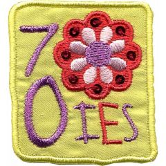 Applicatie Seventies geel met bloemen - 5st
