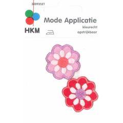 Applicatie Bloemetjes lila en rood 2 stuks - 5 sets
