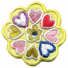 Applicatie Bloem geel met hartjes - 5st