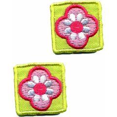 Applicatie Vierkantje geel met bloem set 2 stuks - 5 sets