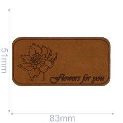 Applicatie Flowers For You Leer Gelaserd  - 5st