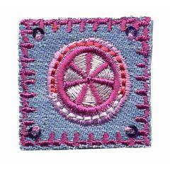 Applicatie Bloemen op kleine postzegel van jeans - 5st