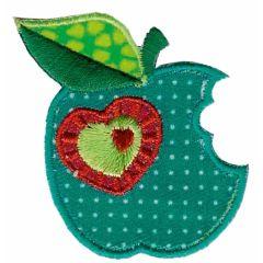 Applicatie Groene appel met hartje - 5st