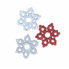 Applicatie Sneeuwvlokken set blauw paars/bruin set 3 st - 5
