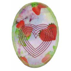 Applicatie Ovaal met hart en aardbeien - 5st