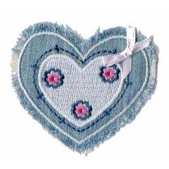 Applicatie Hartje jeans met strikje - 5st