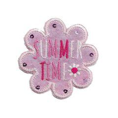 Applicatie Bloem roze jersey summer - 5st