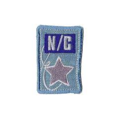 Applicatie Jeans N-C ster roze/paars/goud - 5st