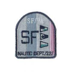 Applicatie Wapen SF roze met lurex/rode vlaggetjes - 5st