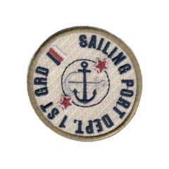 Applicatie Sailing port button rood/blauw/beige - 5st