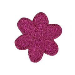 Applicatie Bloem glitter roze - 5st